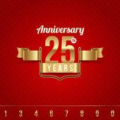 Emblema dorado decorativo del aniversario - ilustración vectorial — Vector de stock