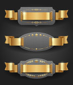 Ornate metal frames with golden decor and ribbons - vector illustration — Cтоковый вектор