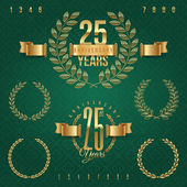 Anniversary golden emblems and decorative elements - vector illustration — Stockvector