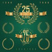 Emblemas de aniversário ouro e elementos decorativos - ilustração vetorial — Vetorial Stock