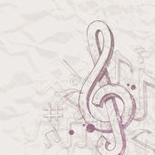 Vector hand drawn treble clef and notes — Wektor stockowy