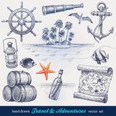 Viajes y aventuras conjunto de vectores dibujados a mano — Vector de stock