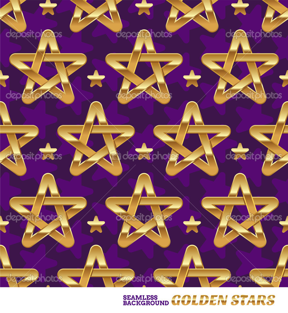 Seamless pattern with golden stars - vector illustration — Stock Vector #13152236