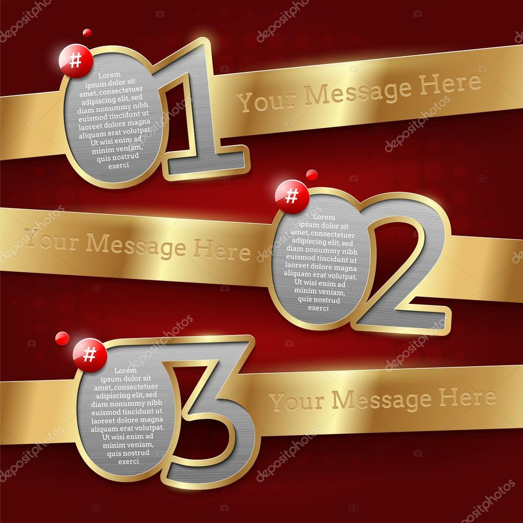 Design templates with numbered golden banners - vector illustration  Stock Vector #13152279