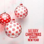 Noel baubles ile yıldız dekor - vektör çizim — Stok Vektör