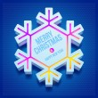 Christmas three-dimensional snowflake — Stock Vector
