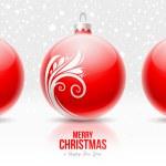 Kırmızı Noel baubles ile beyaz dekor — Stok Vektör