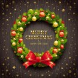Vector de stock : Christmas wreath on a wooden background