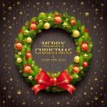 ahşap arka plan üzerinde Noel çelenk — Stok Vektör