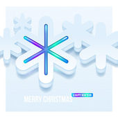 Abstract three-dimensional white snowflakes — Stock Vector