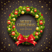 Christmas wreath on a wooden background — 图库矢量图片