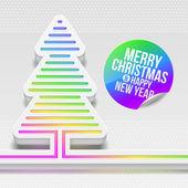 Rie-dimensionale kerstboom met multicolor decor — Stockvector