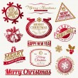 Set of decorative Christmas holidays emblems and labels — Stock Vector