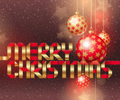 Ilustración de navidad con adornos e inscripción de oro — Vector de stock