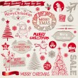 Vector set of Christmas signs, emblems and doodles — Stock Vector