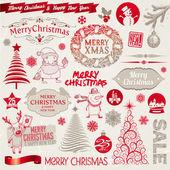 Vektorové sada vánoční znaky, emblémy a čmáranice — Stock vektor