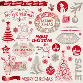 Vector set of Christmas signs, emblems and doodles — Vector de stock