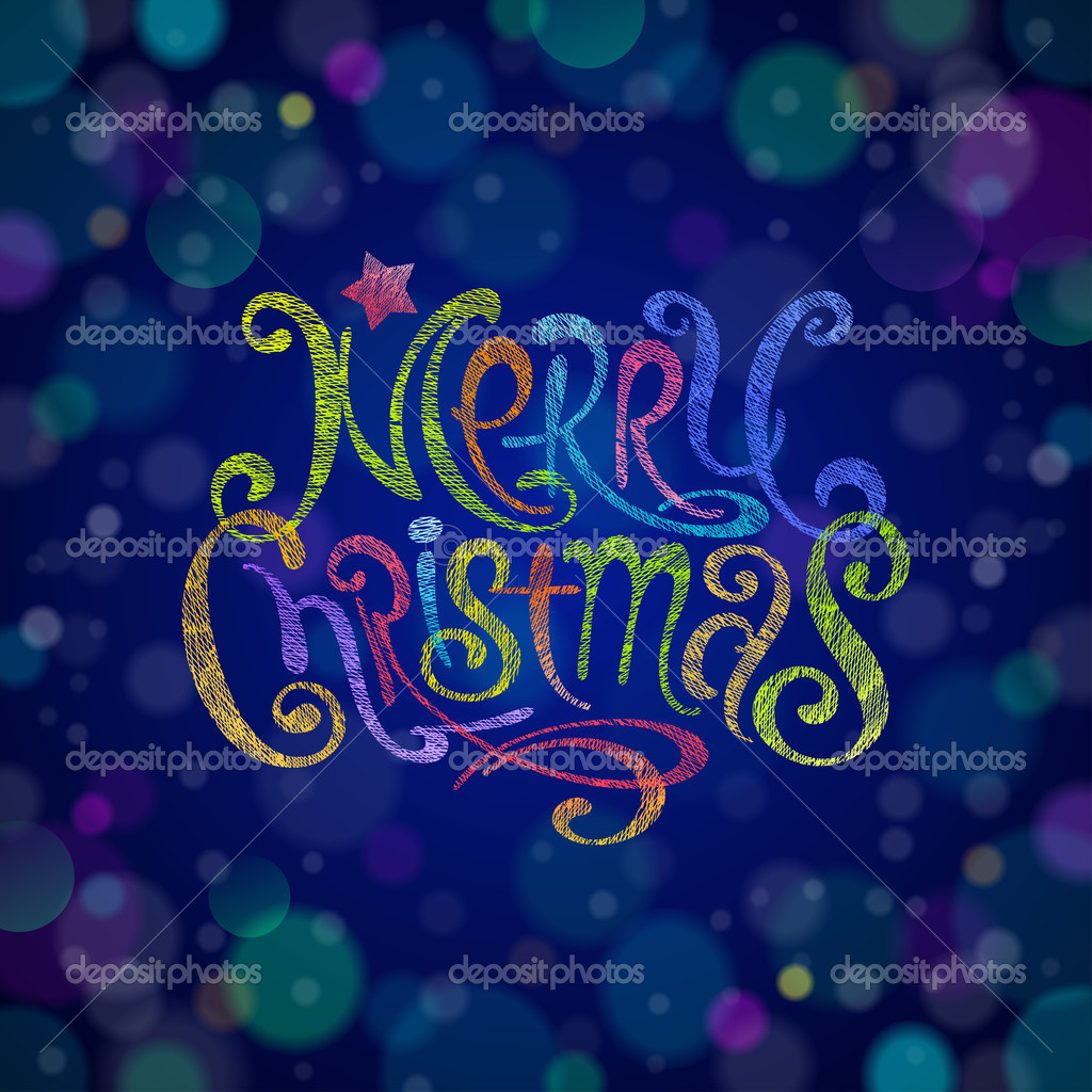 Multicolored Christmas greeting sign - vector illustration — Stock Vector #14157009