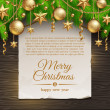 Paper banner with Christmas greeting and  coniferous branches with golden decor - Stock Vector