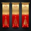 Greeting banners with golden ornate Christmas trees - Stock Vector