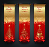 Greeting banners with golden ornate Christmas trees — Vettoriale Stock