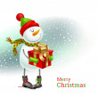 Smiling snowman with Christmas gift — Stock Vector