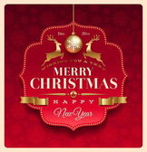Christmas greeting decorative label — Stock vektor