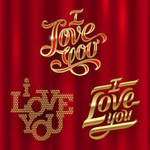 I Love You - golden decorative vector lettering — Stock Vector