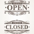 Open and Closed - ornate retro signs - Stock Vector