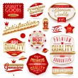 Guaranteed and quality vector signs and labels — Stock Vector