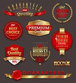 Set of premium & quality golden labels — Stock Vector