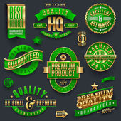 Premium quality and guaranteed golden labels — Stock Vector