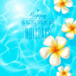 Tropical frangipani flowers floating on clear blue water - Stock Vector