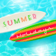 Summer holidays vector design - surfboard on a blue shining tropical water — Stock Vector