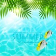 Summer holidays vector design - Palm branches over blue water with tropical fishes — Stock Vector