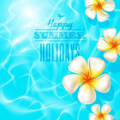 Tropical frangipani flowers floating on clear blue water — Stock Vector