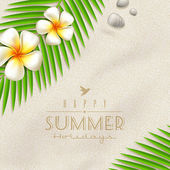 Summer holidays vector design - frangipani tropical flowers and palm tree branches on a beach sand — Stock Vector