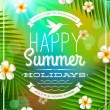 Summer holidays greeting emblem and frangipani flowers against a tropical forest background — Stock Vector