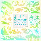 Rest and travel vector set with summer holidays greeting sticker — Stock Vector