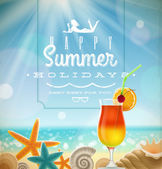 Summer holidays illustration with greeting lettering and tropical resort symbols on a sunny beach — Stock Vector