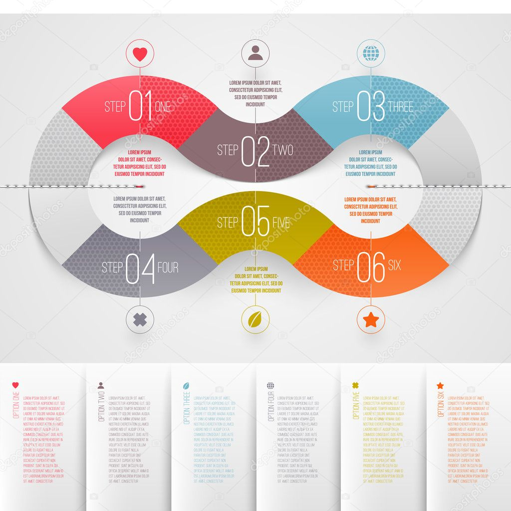 Infographics design template abstract numbered color paper waves – Paper Design Template