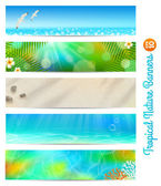 Travel and vacation vector banners with tropical natures — Vettoriale Stock