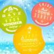Stickers with summer vacation and travel emblems on a glass against a sunny seascape - vector illustration — Stockvektor