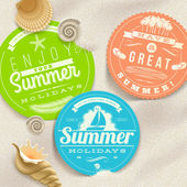 Summer vacation and travel labels and sea shells on a beach sand - vector illustration — Stock Vector
