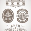 Stock Vector: Beer emblems and labels - vector illustration