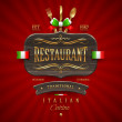 Decorative vintage wooden sign of Italian restaurant with golden decor and lettering - vector illustration — Stock Vector