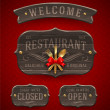 Set of vintage wooden Restaurant signs with decor and golden cutlery - vector illustration — Stock Vector