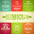 Set of summer vacation and holidays emblems with lettering and travel symbols - vector illustration — Stock Vector #26368103