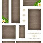 houten achtergronden met tropische bloemen en decoratieve elementen - set van standart vector webbanners — Stockvector