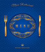 Menu with golden cutlery and ornate elements - vector illustration — Stock Vector